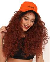 Ebingoo Curly Lace Front Wig with Baby Hair Natural Dark Roots Copper Red Ombre 2 Tones Fashion Synthetic Hair with Long High Density Heat Resistant Wigs for Women 24 Inches(#350)