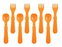 RE-PLAY Made in The USA 8pk Fork and Spoon Utensil Set for Easy Baby, Toddler, and Child Feeding in Orange   Made from Eco Friendly Heavyweight Recycled Milk Jugs   (Orange)