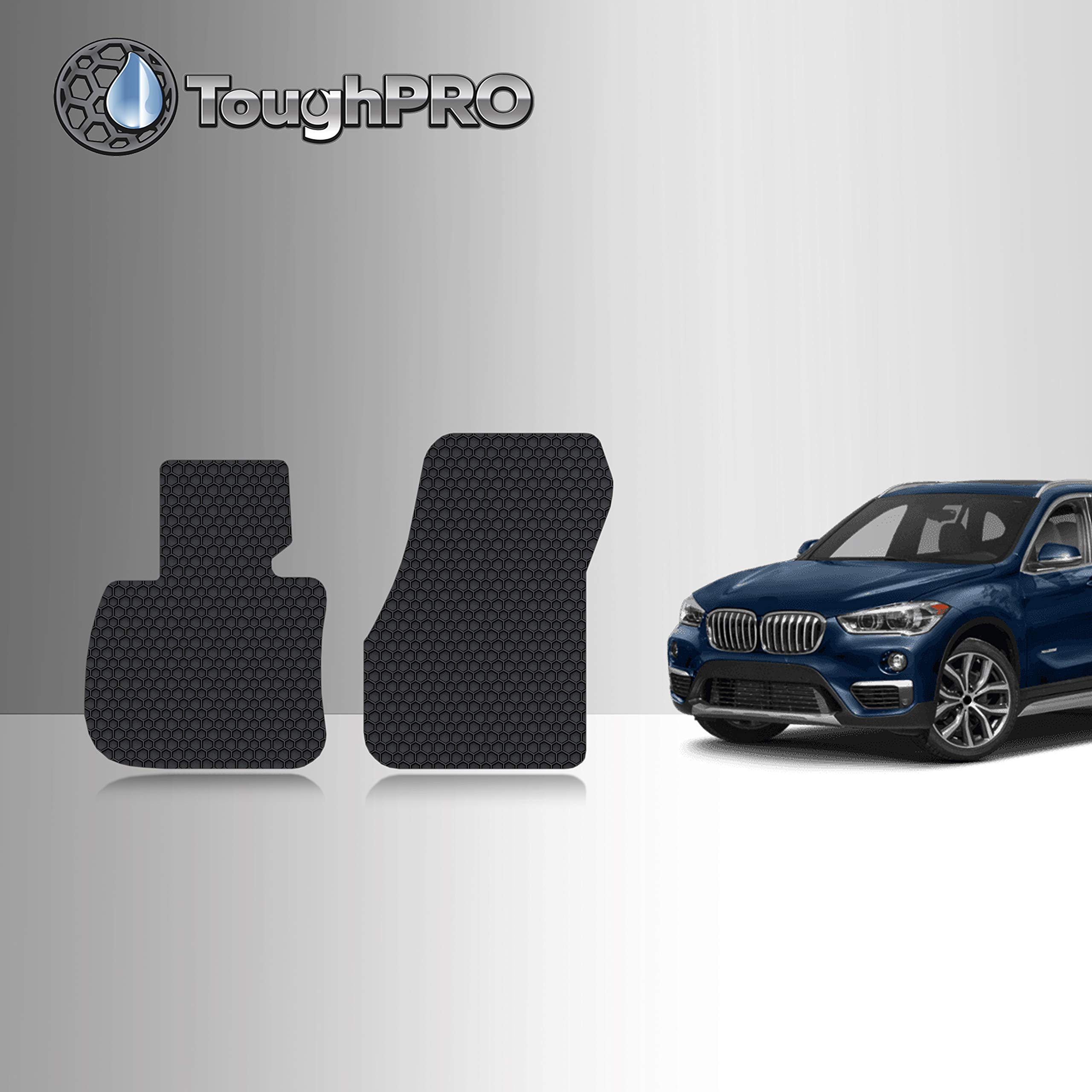 TOUGHPRO Floor Mat Accessories Compatible with BMW X1 - All Weather - Heavy Duty - (Made in USA) - Black Rubber - 2016, 2017, 2018, 2019, 2020 (Front Mats)