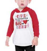Bump and Beyond Designs Girls Promoted to Big Sister Valentine's Day Shirt Toddler and Kids Long Sleeve Raglan Hoodie