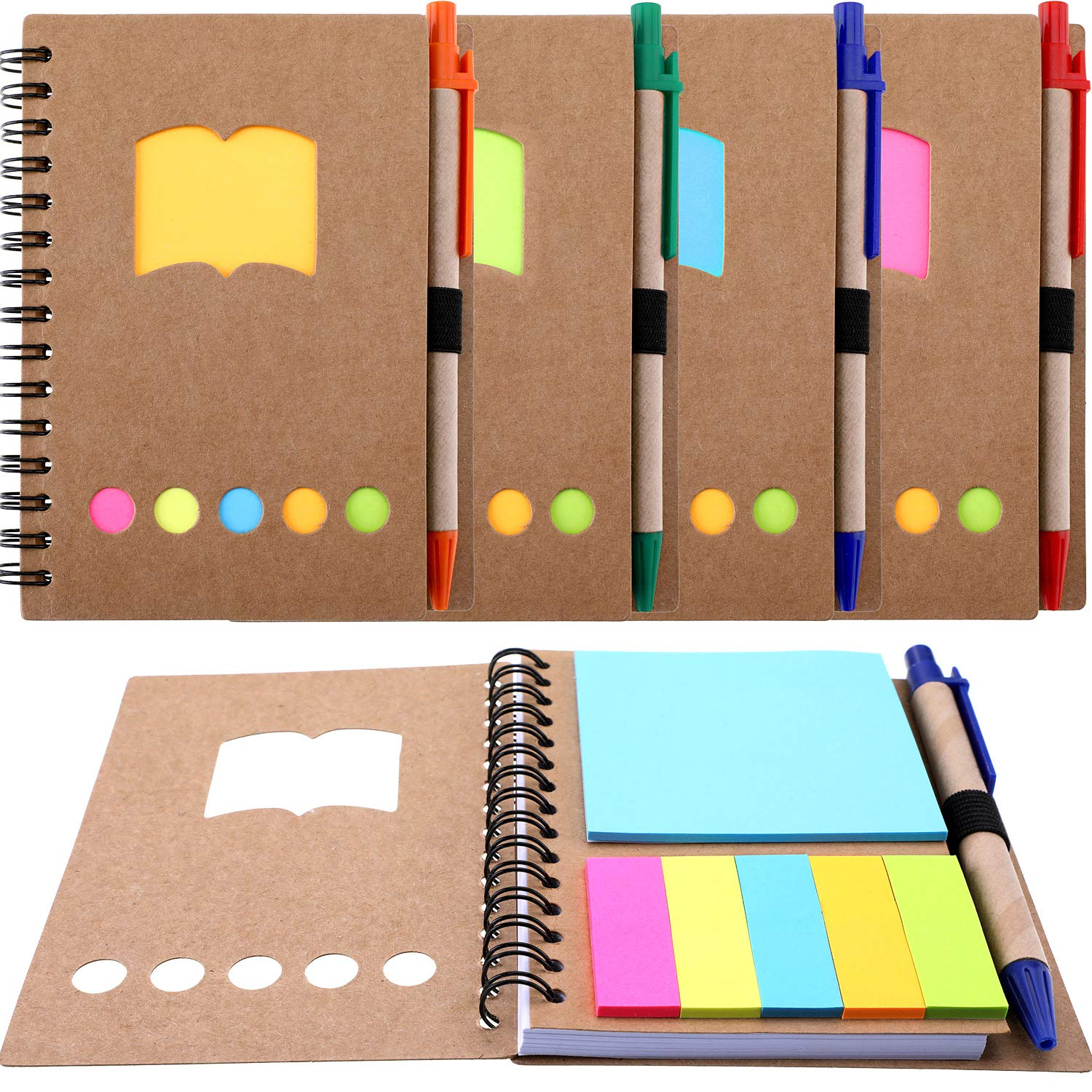 TOODOO 4 Packs Spiral Notebook Lined Notepad with Pen in Holder and Sticky Notes, Page Marker Colored Index Tabs Flags (Brown Cover, Style 2)