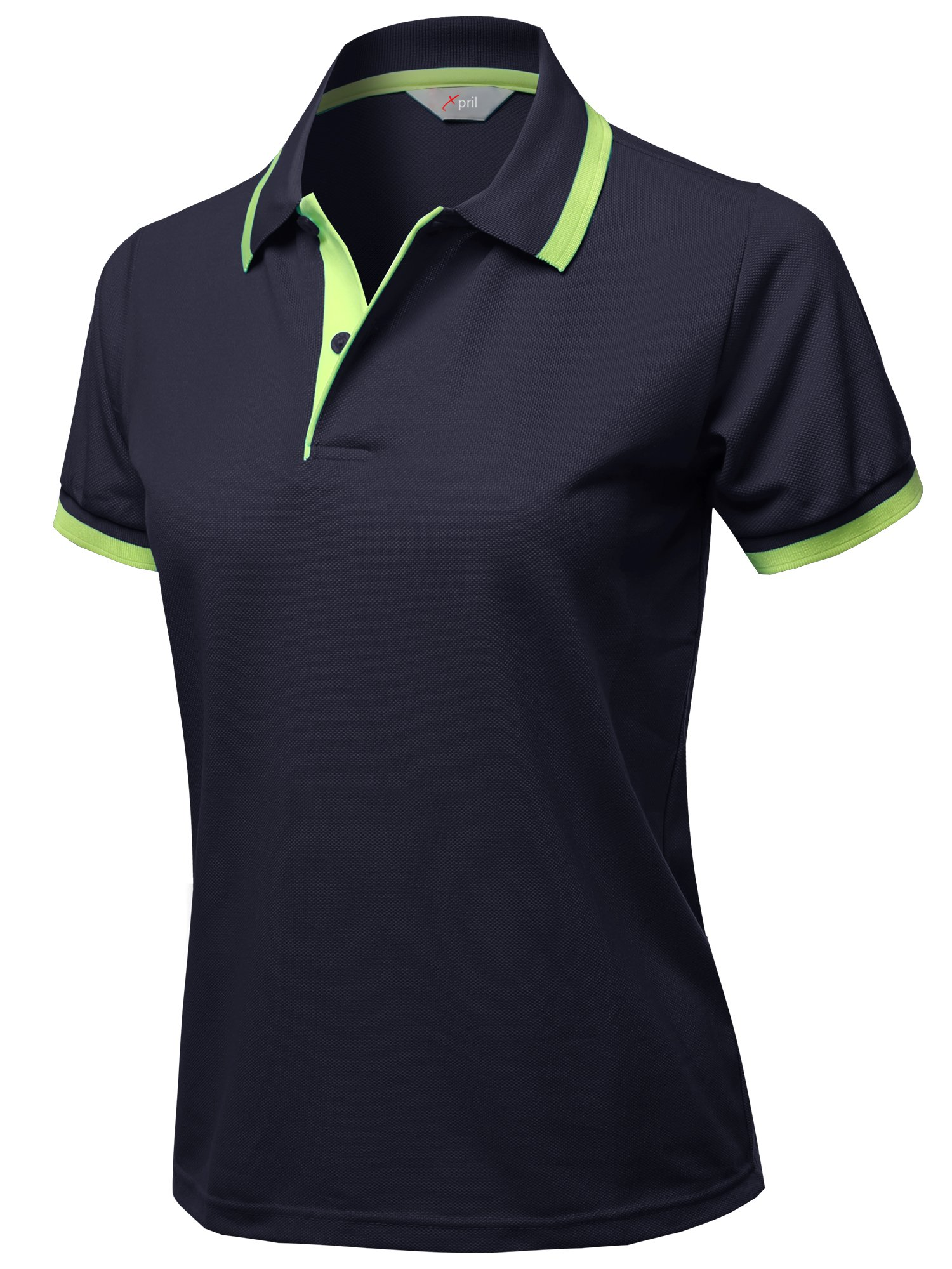 Xpril Casual Short Sleeves Contrast Color Detail Piqu?? Polo Shirts Navy Size M