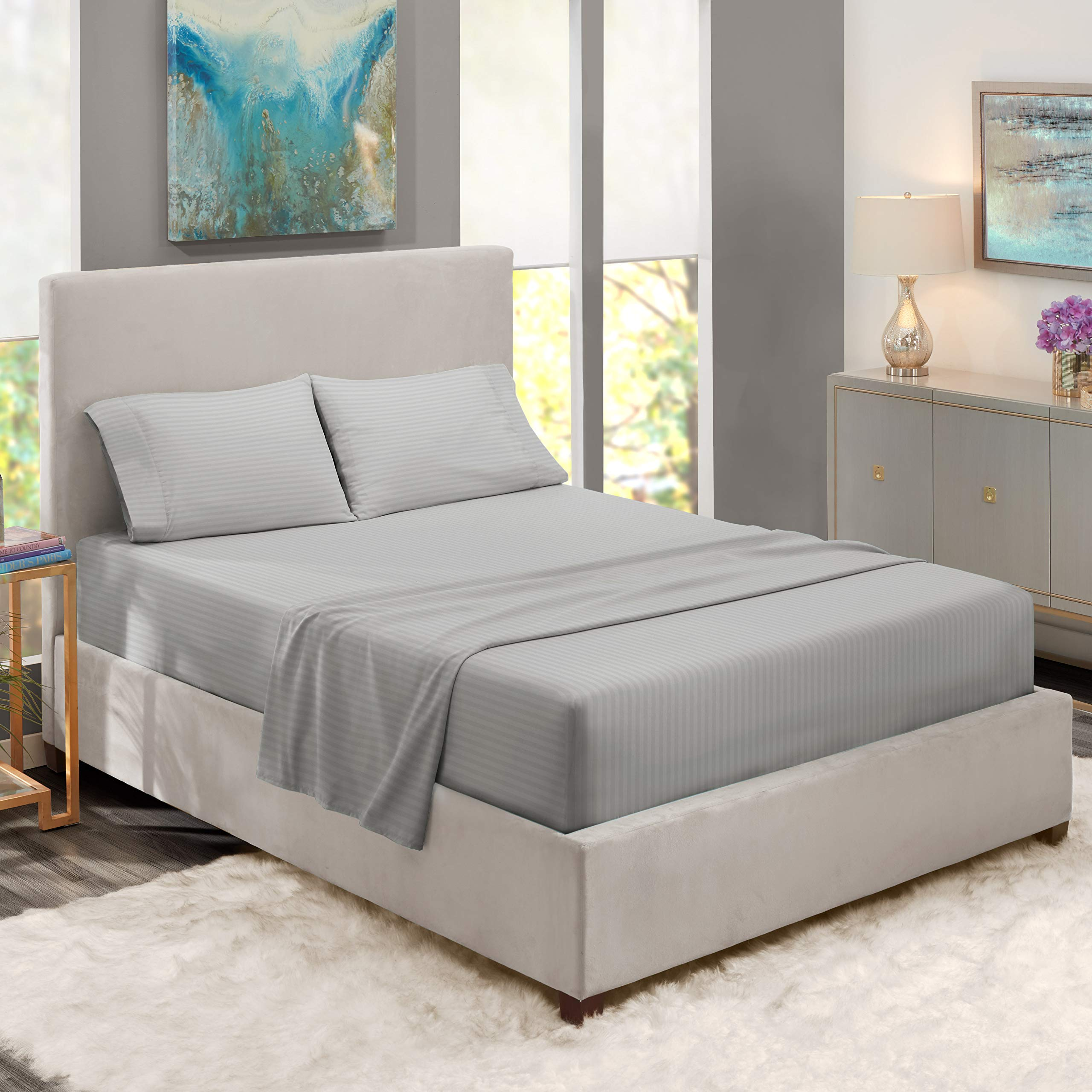 """Nestl Bedding Damask Dobby Stripe 4 Piece Set – 14""""-16"""" Deep Pocket Fitted Sheet – Ultra Soft Double Brushed Microfiber Top Sheet – 2 Hypoallergenic Wrinkle Free Cooling Pillow Cases, Full - Silver"""