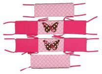 Bacati Butterflies Pink/Chocolate Bumper Pad