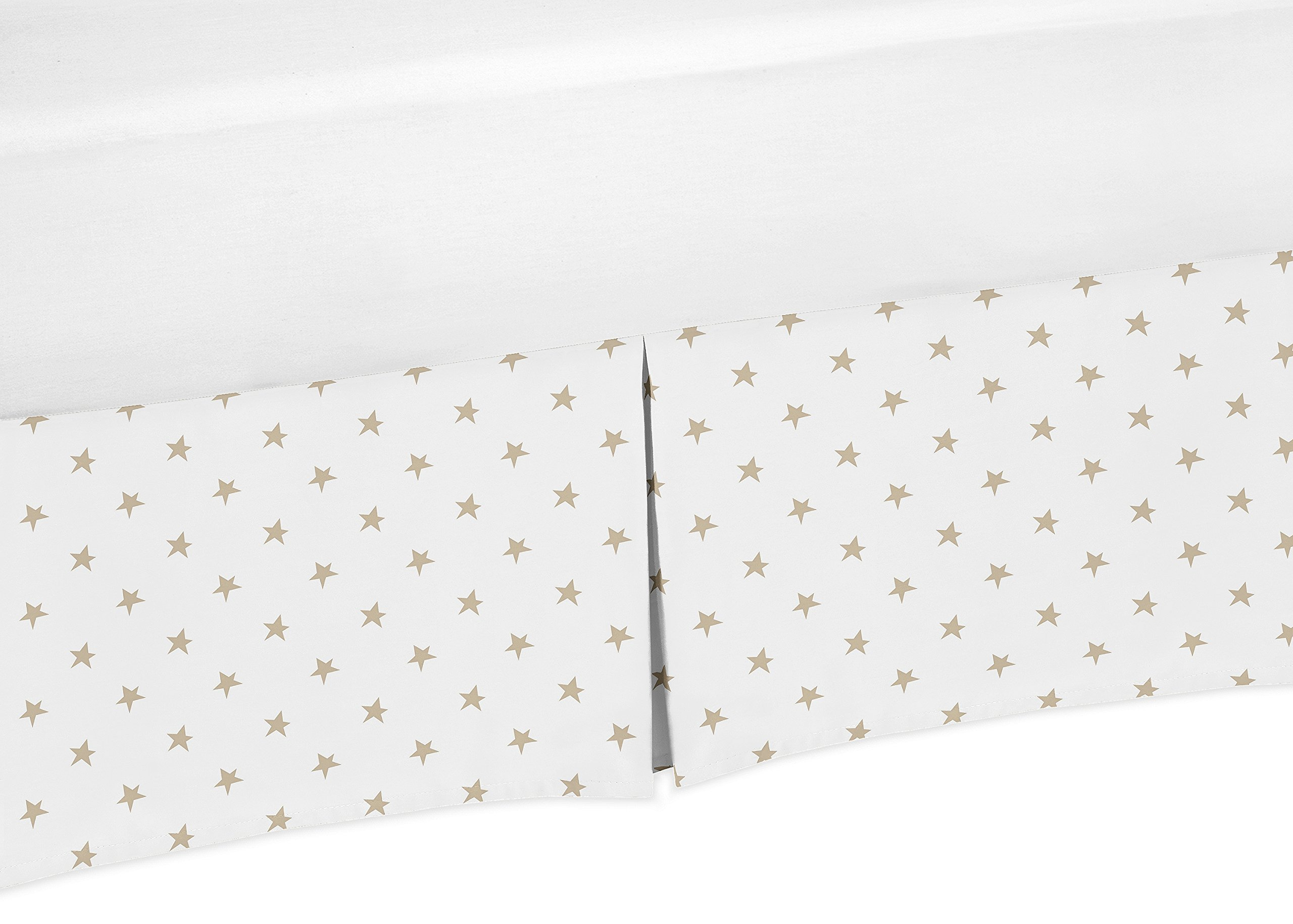 Gold and White Star Baby Girl Pleated Crib Bed Skirt Dust Ruffle for Celestial Collection by Sweet Jojo Designs