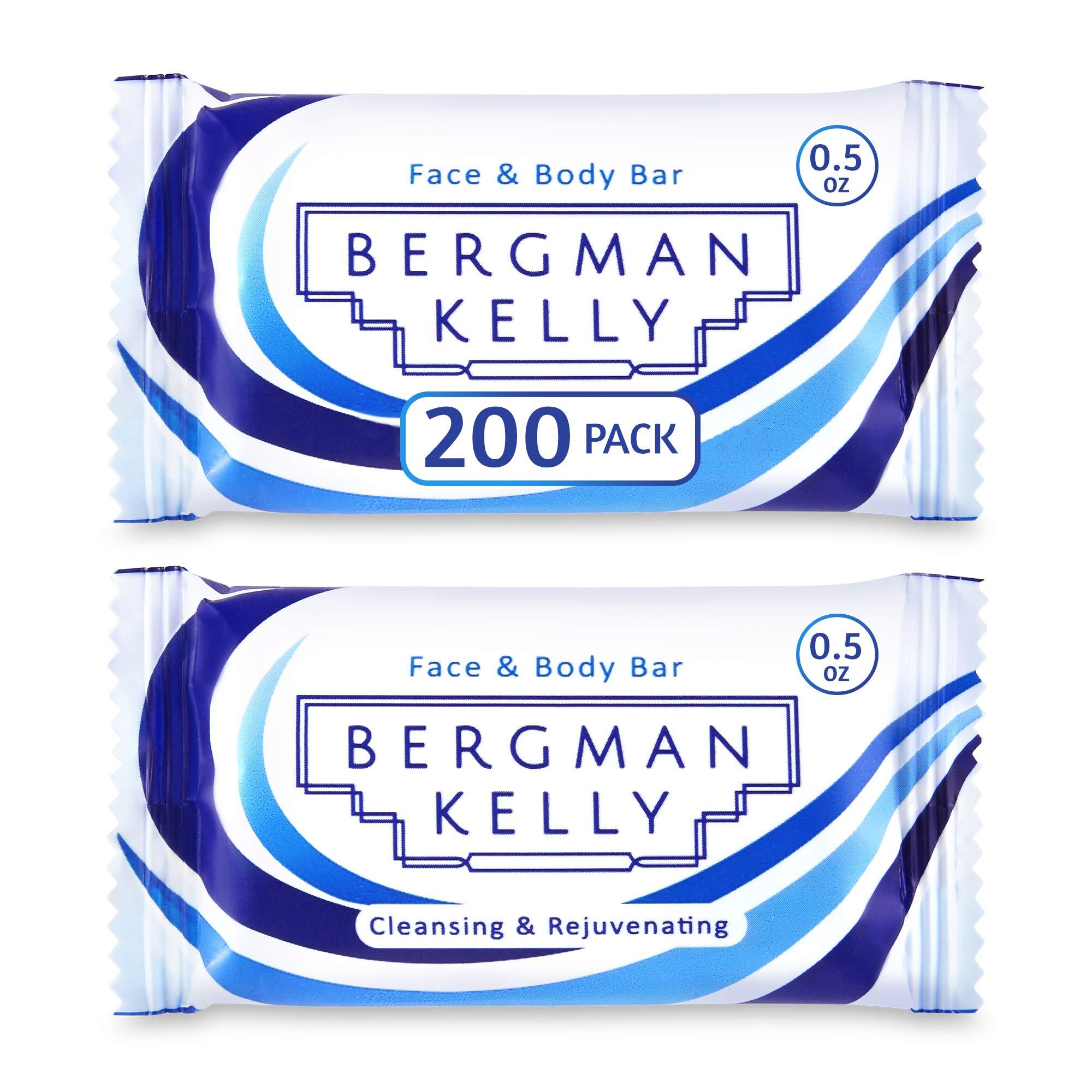 BERGMAN KELLY Sanitary Soap Bars (0.5 Oz, 200 PK, White Tea), Travel Size Luxury Bulk Hotel Bar Soap, Mini Individually Wrapped Rectangular Soap, Hotel Toiletries for AirBnB, Motel, Guest Bathroom