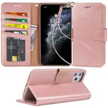 Arae Case for iPhone 11 Pro PU Leather Wallet Case Cover [Stand Feature] with Wrist Strap and [4-Slots] ID&Credit Cards Pocket for iPhone 11 Pro 5.8 inch 2019 Released - Rosegold