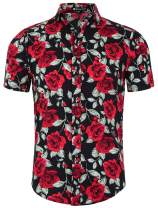 uxcell Men's Summer Floral Print Short Sleeve Button Down Beach Hawaiian Casual Shirt