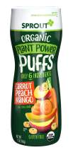 Sprout Organic Plant Power Puffs Baby Snacks, Carrot Peach Mango, 1.5 Ounce Canister (Pack of 6) (Packaging May Vary)