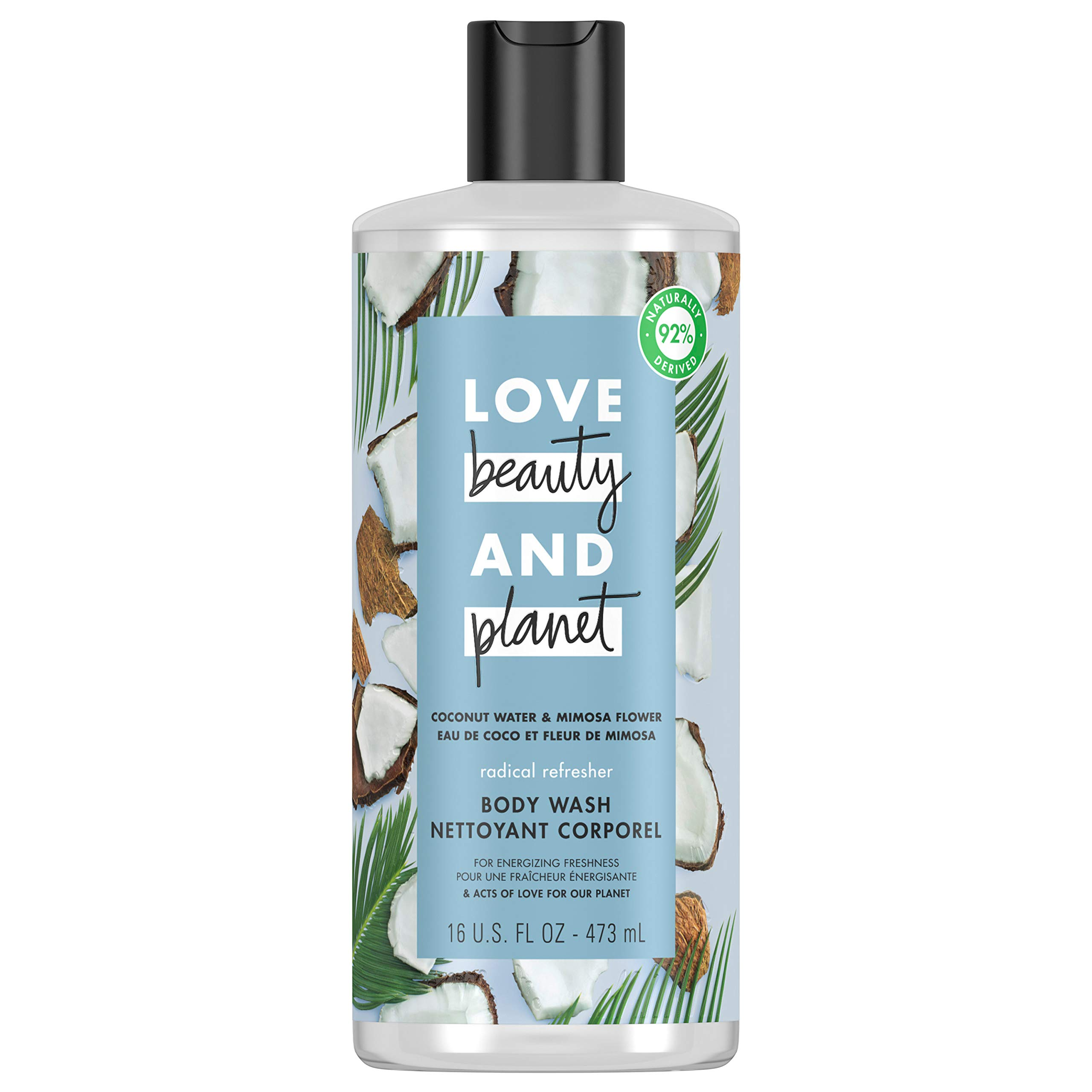 Love Beauty And Planet Radical Refresher Body Wash for Energizing Freshness Coconut Water & Mimosa Flower Hydrating Bodywash 16 oz