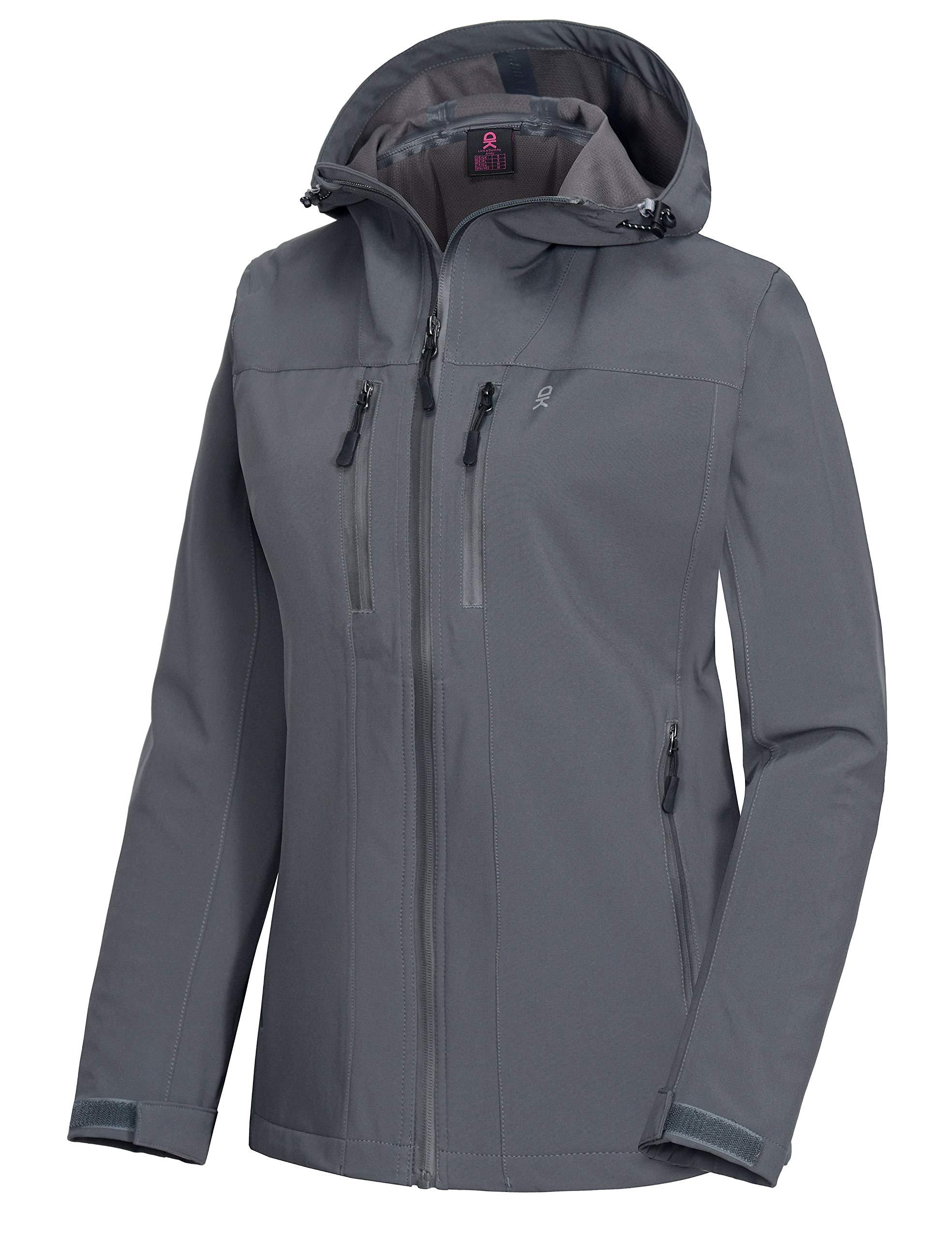 Little Donkey Andy Women's Waterproof Shell Jacket Hooded Breathable Windbreaker Rain Coat for Hiking