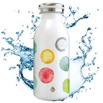 BOP! Water colors Vacuum Insulated Kids Water Bottle, 350 ml 11.8oz (12 oz kids canteen flask), 24 hrs cold, 18/8 St. Steel flask for kids, easy sip carry & open flask, Kids kanteen Thermos