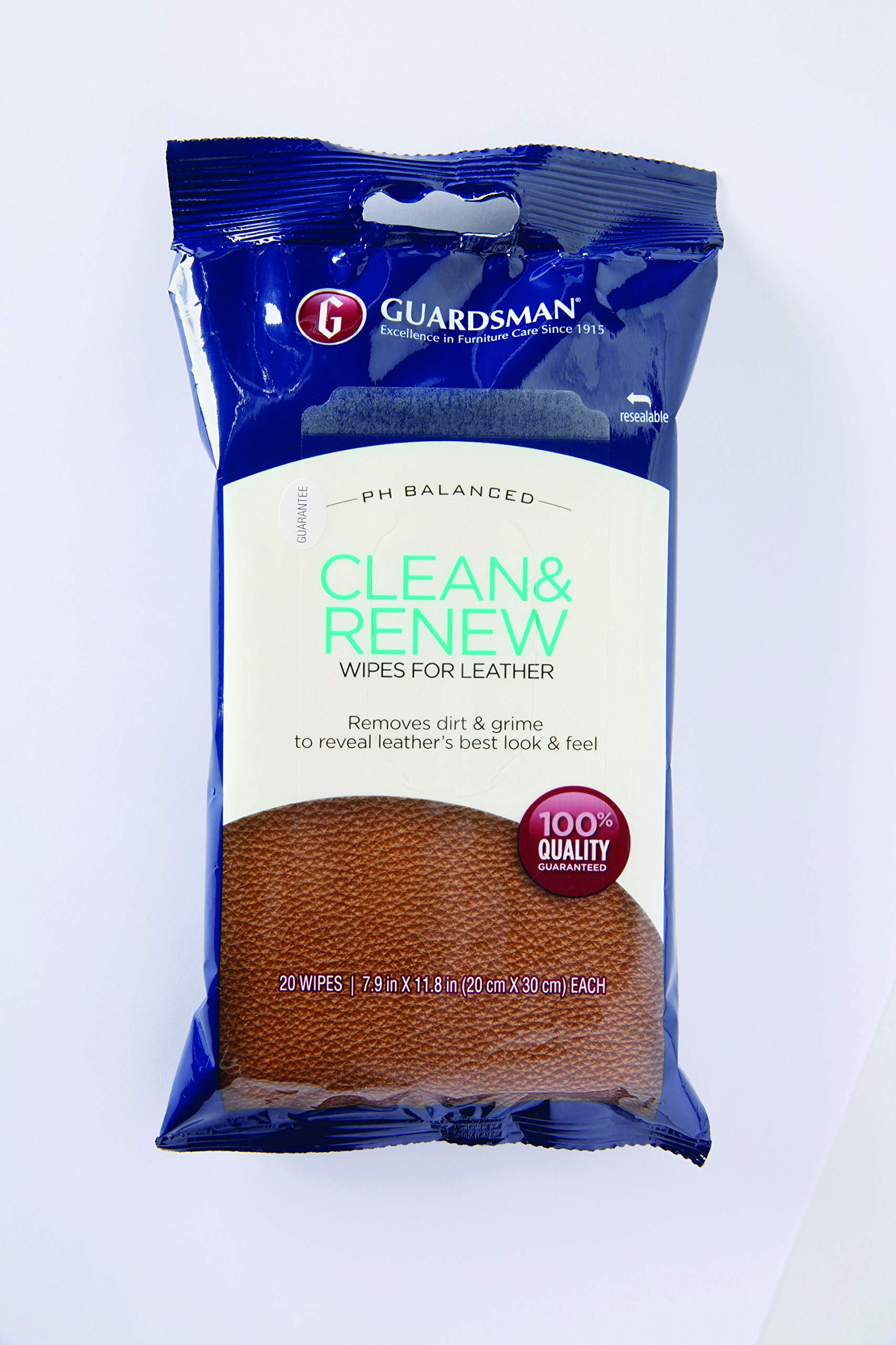 Guardsman 470200 Clean & Renew Wipes Removes Dirt and Grime, for Leather Furniture & Car Interiors, 20 Count