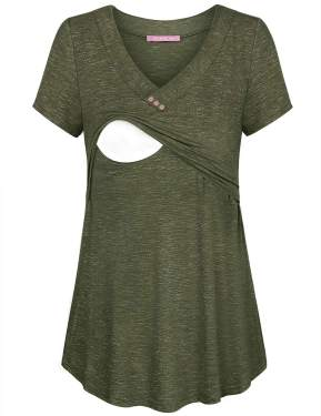 Joymom Womens V Neck Short Sleeve Nursing Tops Maternity Breastfeeding Shirts S 2xl