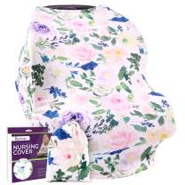 Nursing Cover Carseat Canopy – Ultra Soft and Stretchy Fabric – Breastfeeding Scarf, Baby Car Seat Cover for Girls & Boys, Stroller Sunshade – Gift Packaged - Bonus Nursing Guide Included