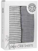 Pack n Play Stretchy Fitted Muslin Cotton Playard Sheet Set - Margaux & May 2 Pack Portable Mini Crib Sheets,Ultra Soft & Breathable - Stripes & Solid Grey