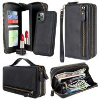 Harryshell Multi Zipper Detachable Magnetic Wallet Case Clutch Purse with Card Slots Mirror Handstrap for iPhone 11 Pro Max 6.5 inch 2019 (Black)
