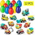"""ELONGDI 12 Pieces Pull Back Vehicles Filled Easter Eggs, 3.2"""" Prefilled Eggs for Easter Basket Stuffers, Egg Hunting, Party Favor, Pull Back Cars Vehicles Boys Toys for Kids Toddlers"""