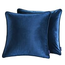 "Cieltown Solid Velvet Throw Pillow Covers, Square Throw Pillow Cushion Cover, 2-Pack, 18"" x 18"", Super Soft and Cozy (Navy Blue)"