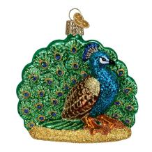 Old World Christmas Zoo and Wildlife Animals Glass Blown Ornaments for Christmas Tree Proud Peacock