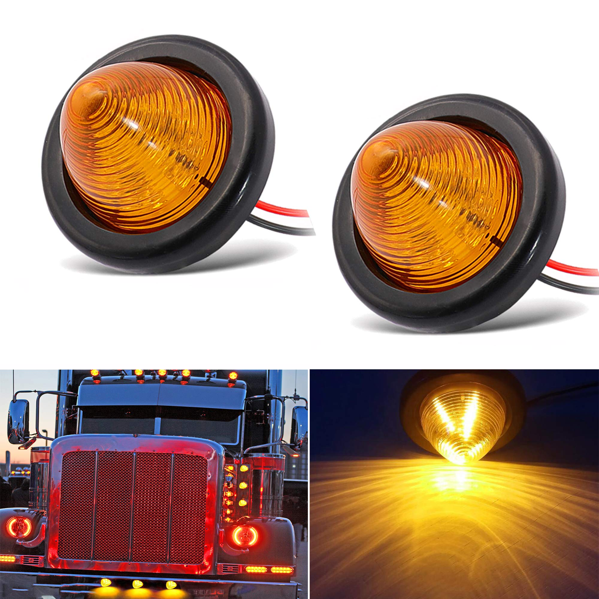 NBWDY 2Pcs 2in Amber Beehive Cone Light Round Side Marker Light Rear Tracking Light Waterproof Peterbilt 9 Diodes Sealed LED Bullet Marker lights for Truck Trailer Van Pickup Bus Boat RV SUV Jeep
