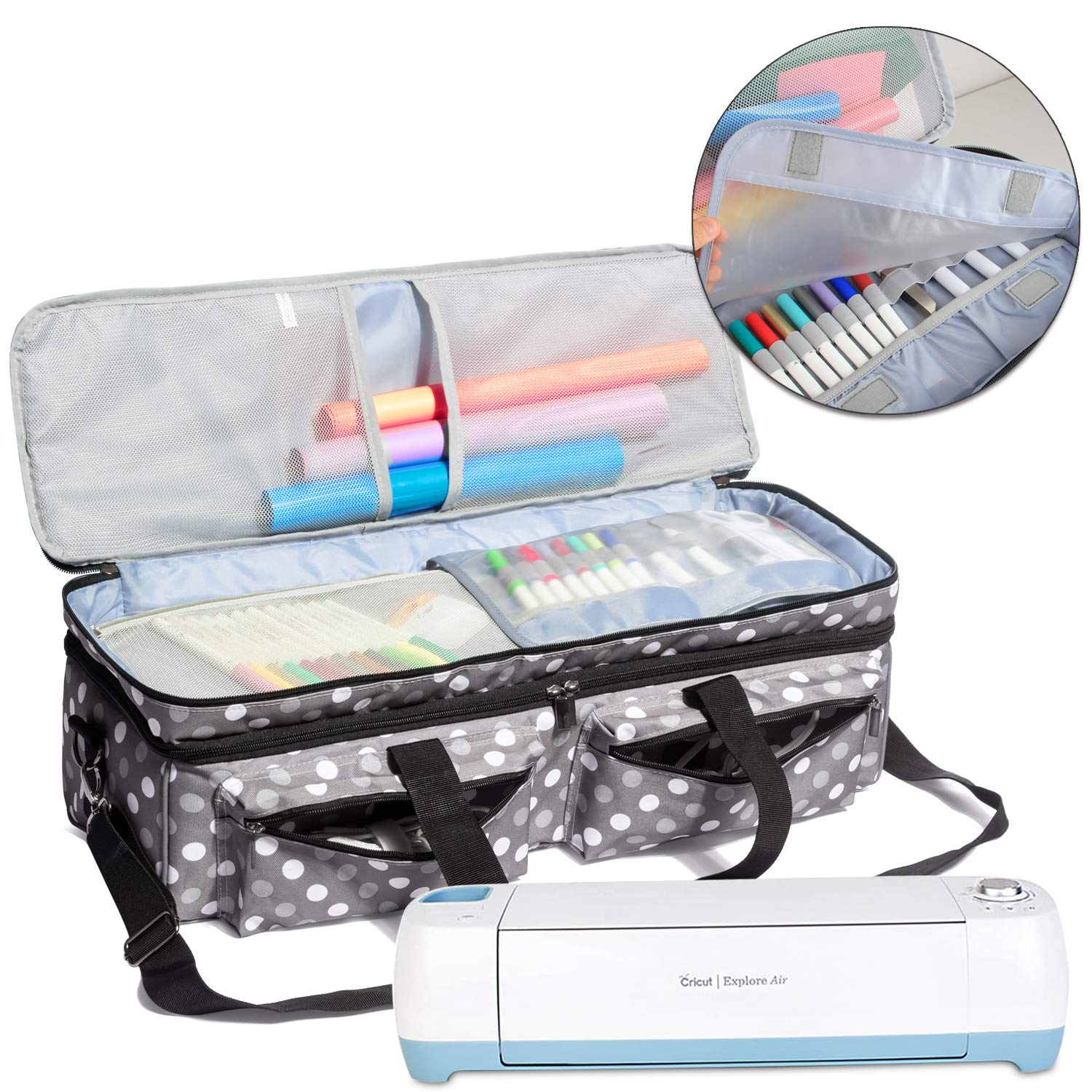 Luxja Double-Layer Bag Compatible with Cricut Explore Air (Air2) and Maker, Carrying Bag Compatible with Cricut Die-Cut Machine and Supplies (Bag Only, Patent Pending), Gray Dots