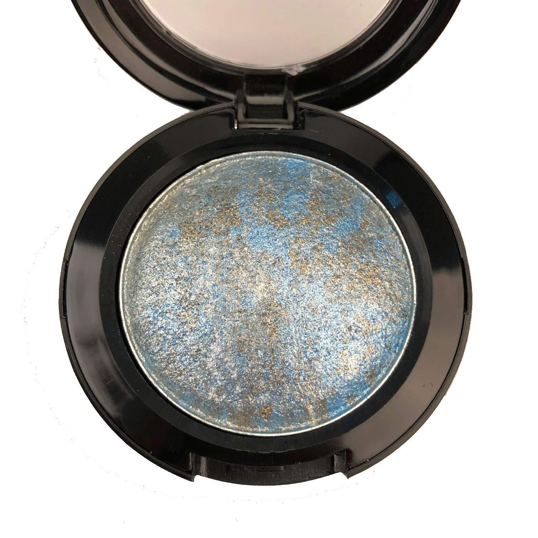 Mallofusa Single Color Baked Eye Shadow Palette Glitter Powder in Shimmer 15 Metallic Colors Optional (Ice Blue)
