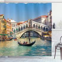 """Ambesonne Venice Shower Curtain, Cityscape on a Sunny Day with Rialto Bridge Venetian Grand Canal Travel Destination, Cloth Fabric Bathroom Decor Set with Hooks, 70"""" Long, Blue White"""