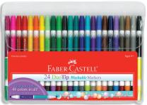 Faber-Castell DuoTip Washable Markers - 24 Markers, 48 Colors
