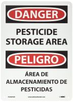 "NMC ESD669AB Bilingual OSHA Sign, Legend ""DANGER - PESTICIDE STORAGE AREA"", 10"" Length x 14"" Height, 0.040 Aluminum, Black/Red on White"