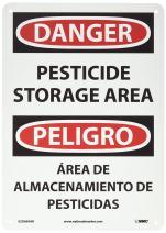 "NMC ESD669AB Bilingual OSHA Sign, Legend ""DANGER - PESTICIDE STORAGE AREA"", 10"" Length x 14"" Height, 0.040 Aluminum, Black/Red on White"