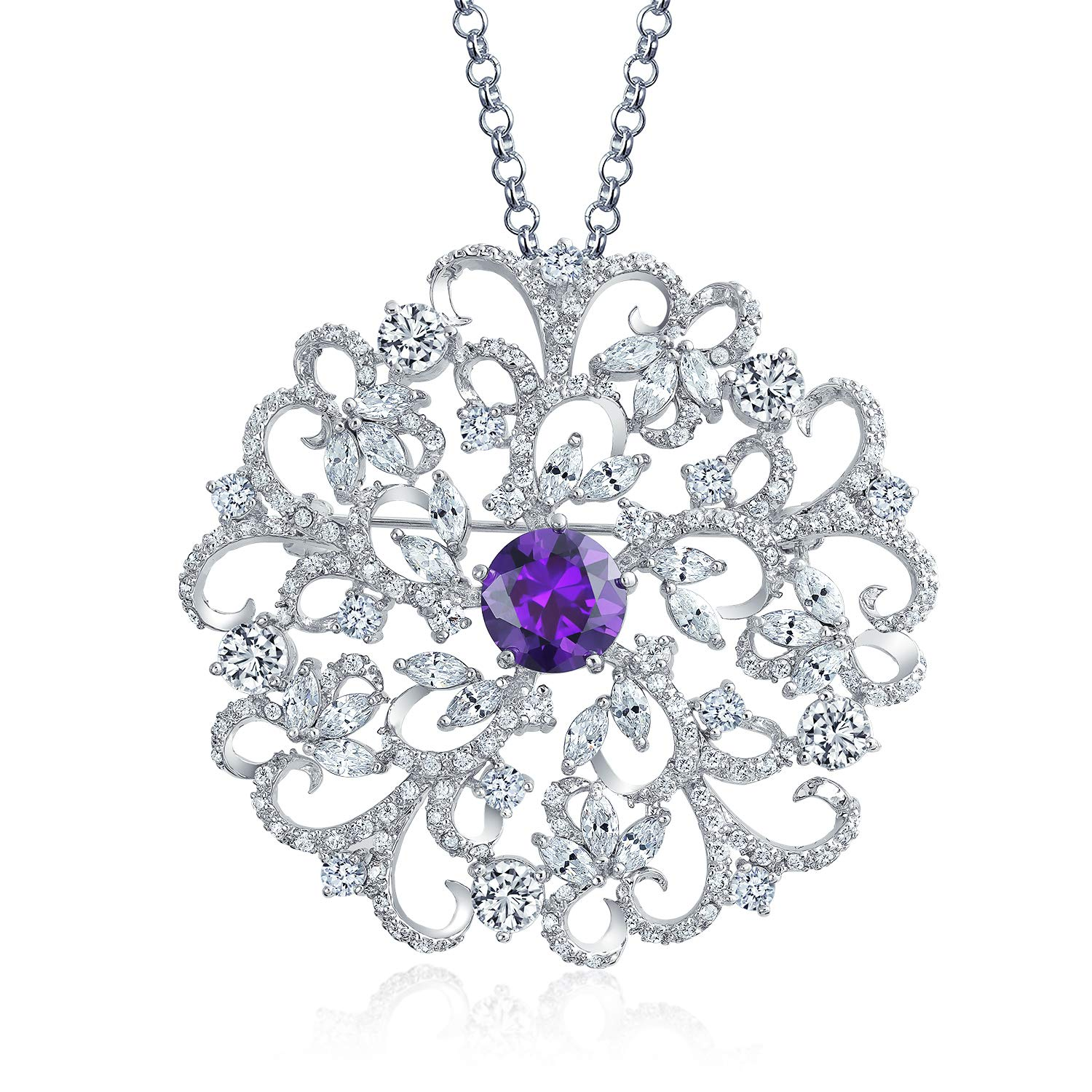 Bling Jewelry Filigree Flower Purple CZ Round Brooch Pin for Women Pendant Simulated Amethyst Cubic Zirconia Rhodium Plated 16In