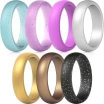 ThunderFit Silicone Rings, 7 Rings / 1 Ring Wedding Bands for Women - 5.5 mm wide - 2mm Thick