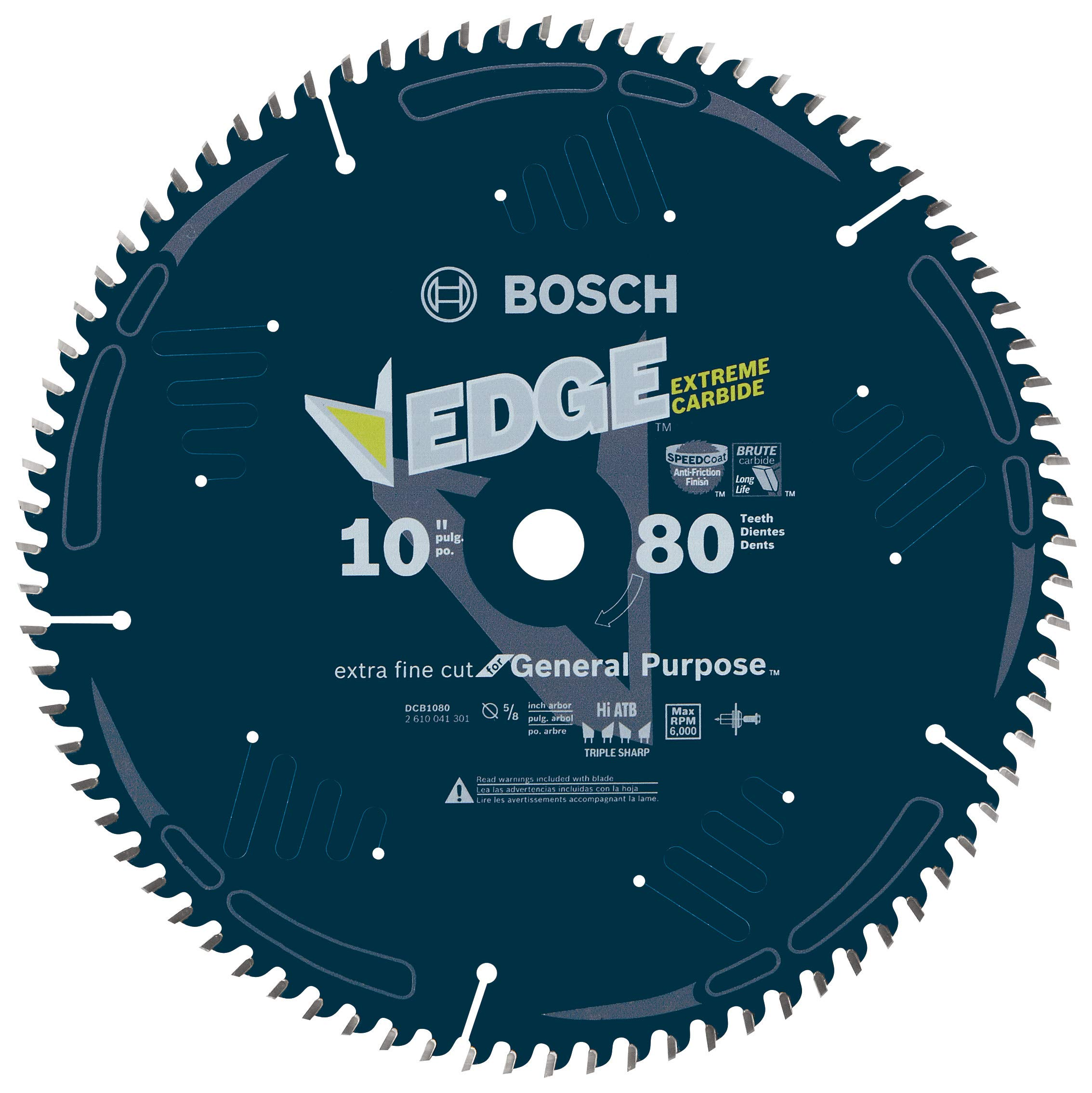 Bosch DCB1080 Daredevil10-Inch 80-Tooth Extra-Fine Finish for Melamine and Finished Plywood Circular Saw Blade,Blue