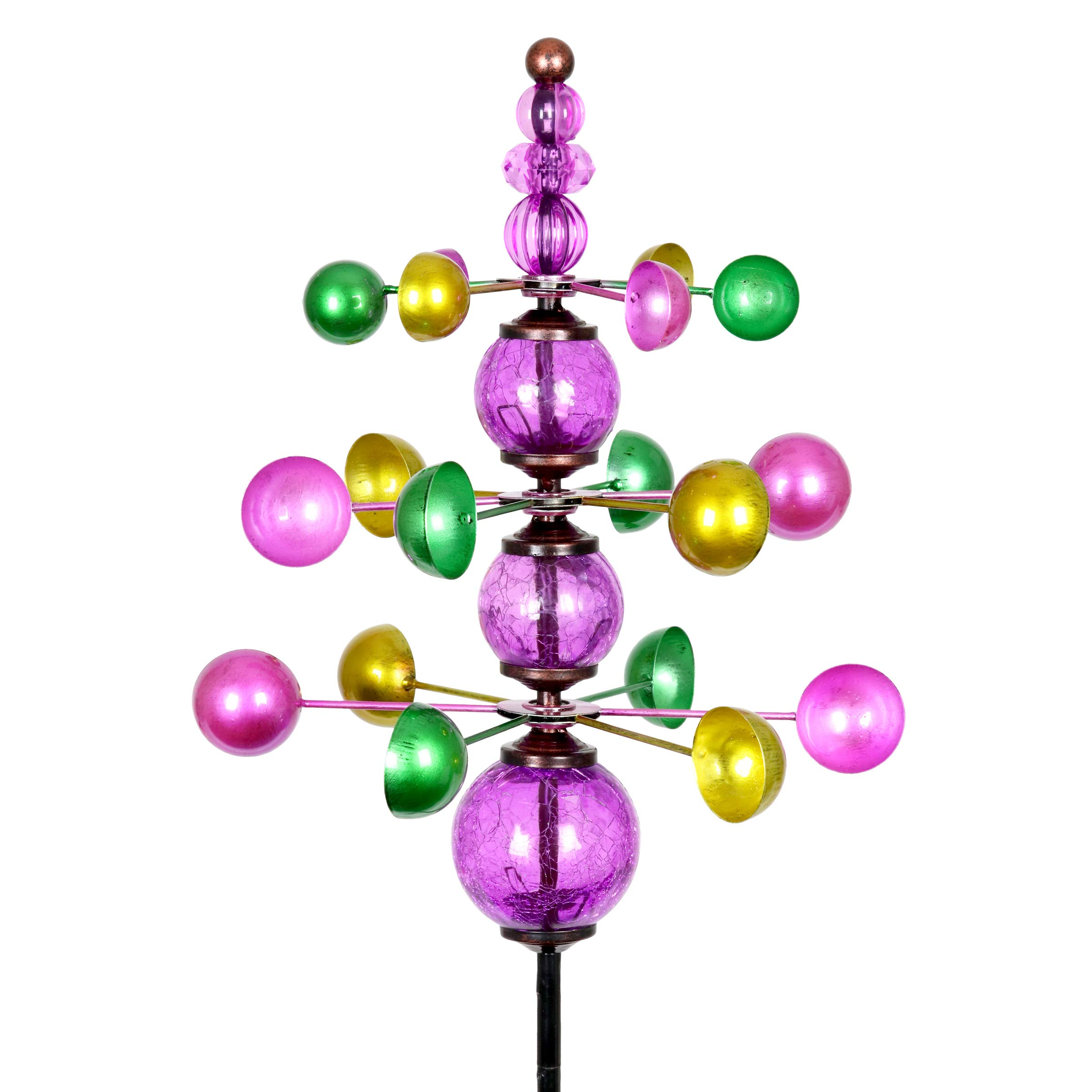 """Exhart Colorful Helix Yard Mobile, Three-Tier Vertical Wind Spinners with Purple Glass Crackle Balls Garden Stake – Green, Gold & Purple Garden Spinners - Kinetic Art Decor, 11.5"""" L by 48"""" W Inches"""