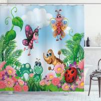 """Ambesonne Garden Shower Curtain, Gardening Theme Illustration of Butterfly Ladybug Worm Flowers and Grass, Cloth Fabric Bathroom Decor Set with Hooks, 84"""" Long Extra, Green Pink"""