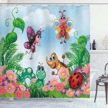 """Ambesonne Garden Shower Curtain, Gardening Theme Illustration of Butterfly Ladybug Worm Flowers and Grass, Cloth Fabric Bathroom Decor Set with Hooks, 70"""" Long, Green Pink"""