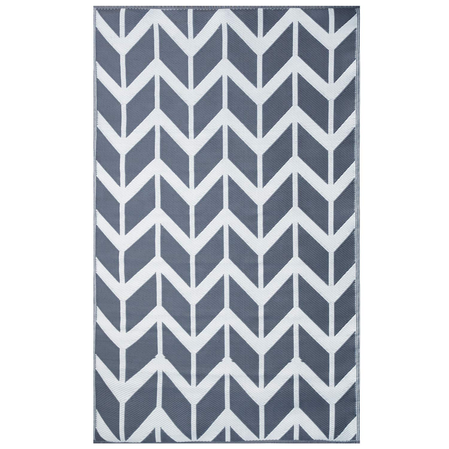 Earth Collective Outdoor Rug For Patio Recycled Plastic Mat Grey White Chevron Reversible Easy Clean Eco Waterproof Uv Mildew Stain Proof Beach Picnic Rv Camping 4 X 6