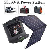 ECO-WORTHY 120W Complete Off Grid Foldable Solar Panel Charger Kit with 20A Controller and Battery Clip for Portable Generator Power Station, Trailer Camper Car RV Boat Battery