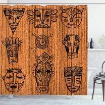 """Ambesonne African Shower Curtain, Ceremonial Native Illustration Cultural Art Print, Cloth Fabric Bathroom Decor Set with Hooks, 70"""" Long, Black Brown"""