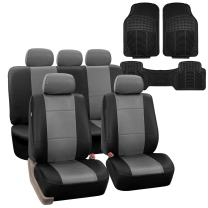 FH Group PU002115 + F11306 Premium PU Leather Seat Covers (Gray) Full Set – Universal Fit for Cars Trucks and SUVs