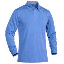 TACVASEN Men's Long and Short Sleeve Golf Polo Shirts Quick Dry 3 Buttons Performance Athletic Casual T-Shirt