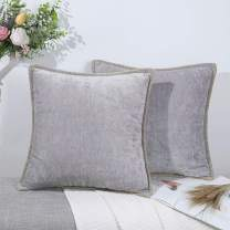 decorUhome Farmhouse Decorative Throw Pillow Covers Set of 2 Trimmed Edge Velvet Cushion Cases for Couch Living Room, Light Grey, 22x22 inch