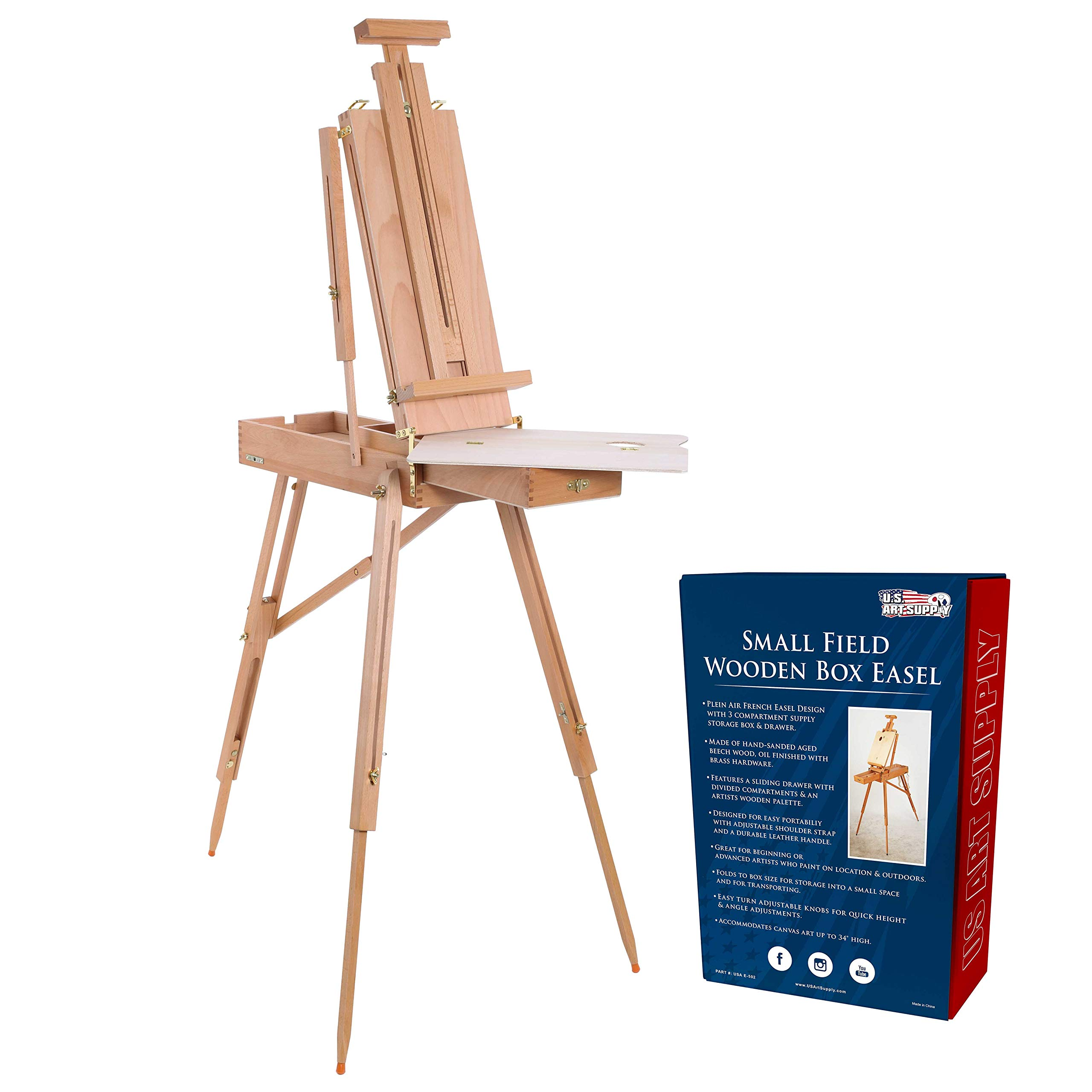 U.S. Art Supply Coronado Small Box Wooden French Style Field and Studio Sketchbox Easel with Drawer, Beechwood, Artist Palette - Adjustable Wood Tripod Easel Stand, Painting, Sketching, Canvas Display
