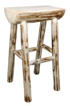 Montana Woodworks Collection Half Log Barstool, Clear Lacquer Finish