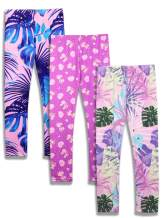 iLover Girls Cute Stretch Athletic Leggings Kids Yoga Pants Ankle Length 3 Pack Size 4-13T