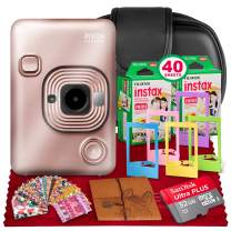 Fujifilm INSTAX Hybrid Mini LIPLAY (Blush Gold) + Fujifilm Instax Mini Instant Film (40 Shots) + Camera Case & 32GB Platinum Accessory Bundle (USA Warranty)