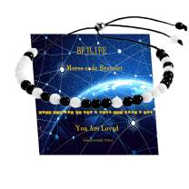 BFJLIFE Morse Code Bracelets Inspirational Handmade Gifts for Family Friends Personalized Adjustable Chalcedony Beads on Silk Cord Jewelry for Women Men Girls