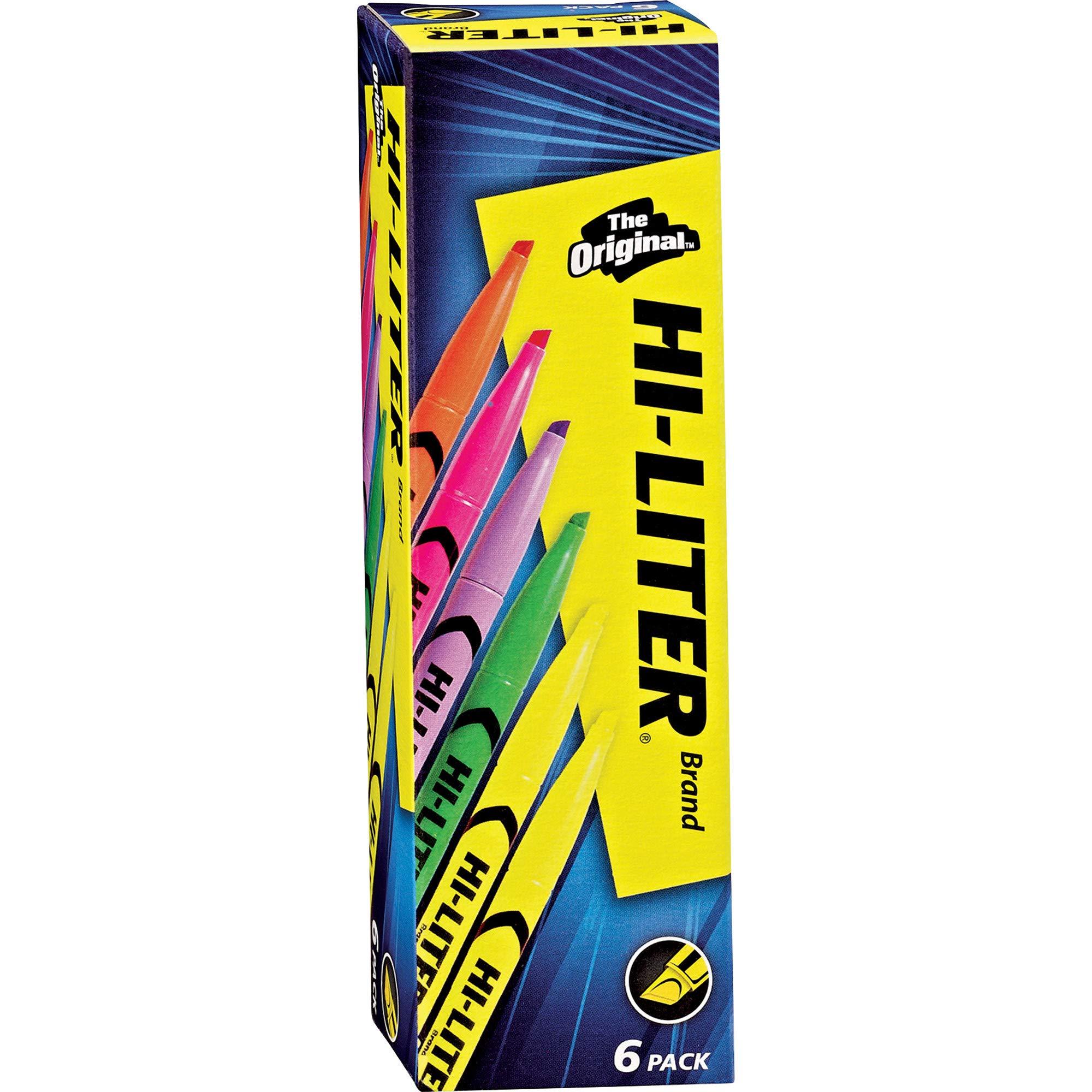Avery Hi-Liter Pen-Style Highlighters, Smear Safe Ink, Chisel Tip, 6 Assorted Color Highlighters (23565)