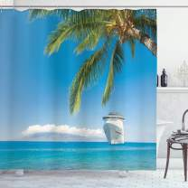 """Ambesonne Nautical Shower Curtain, Large Cruise Ship Heads to Tropical Sandy Beach Exotic Panorama Coastal Theme, Cloth Fabric Bathroom Decor Set with Hooks, 70"""" Long, Turquoise Green"""